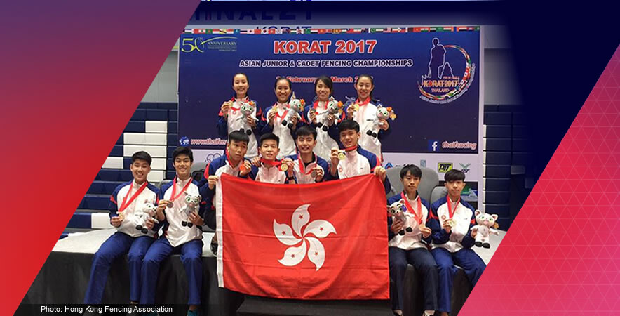 A group of Hong Kong young fencers sparked at the Asian Junior & Cadet Fencing Championships 2017 by winning 7 golds, 3 silvers and 11 bronze medals