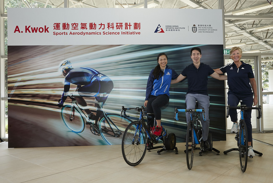 <p>(From right) Dr Trisha Leahy BBS, Chief Executive of the HKSI, Mr Adam Kwok Kai-fai, Executive Director of Sun Hung Kai Properties&nbsp;and Lee Wai-sze, elite cycling athlete&nbsp;attended the ceremony in support of the collaboration.</p>