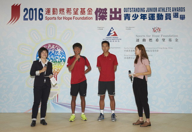 Two Outstanding Junior Athletes, Anthony Jackie Tang (2nd right) and Wong Hong-kit (2nd left) share with audience their memorable moments with each other and future goals.