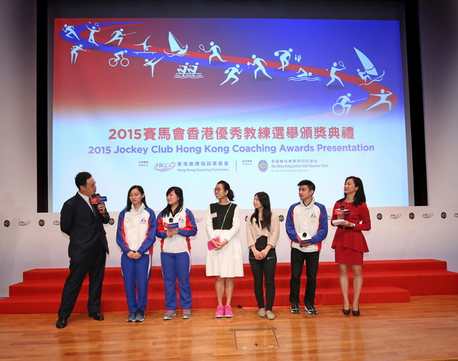 During the Ceremony, five athletes (from left) Ho Tze-lok, Lui Hiu-lam (squash), Ng On-yee (billiard sports), Angel Wong (gymnastics) and Zhuang Jiahong (wushu) share their precious moments with coaches.