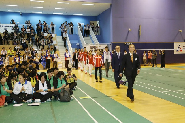 Rio Olympic Games Mainland Olympians Delegation are greeted by Hong Kong athletes, students of the Hong Kong Sports Institute's Elite Athlete-friendly School Network, and guests from the sporting community when they march in the Badminton Hall.