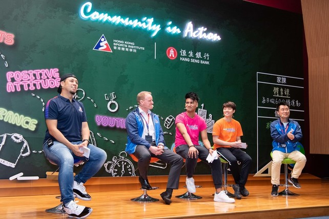 (From right) Head Table Tennis Coach Mr Chan Kong-wah; Table Tennis athlete Doo Hoi-kem; Head Billiard Sports Coach Mr Wayne Griffith, and Billiard Sports athlete Robbie Capito, shared their view and expectation for the new programme at the Launch Ceremony.